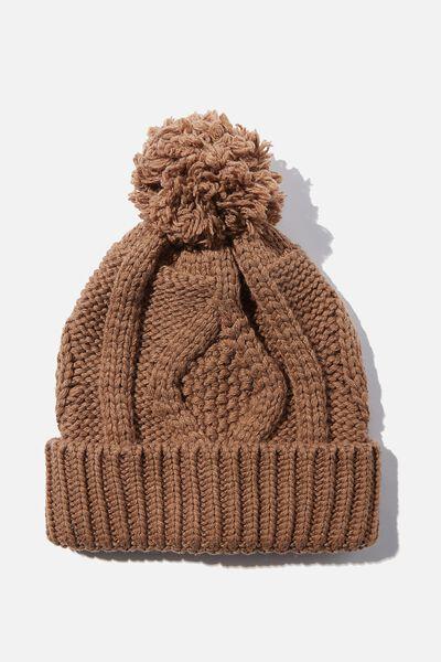 Heritage Knit Pom Pom Beanie, COCOA BEAN INTARSIA