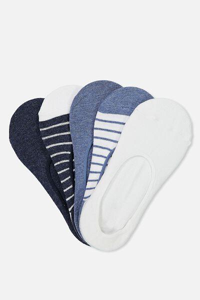 5Pk Low Cut Sock, NAVY STRIPE