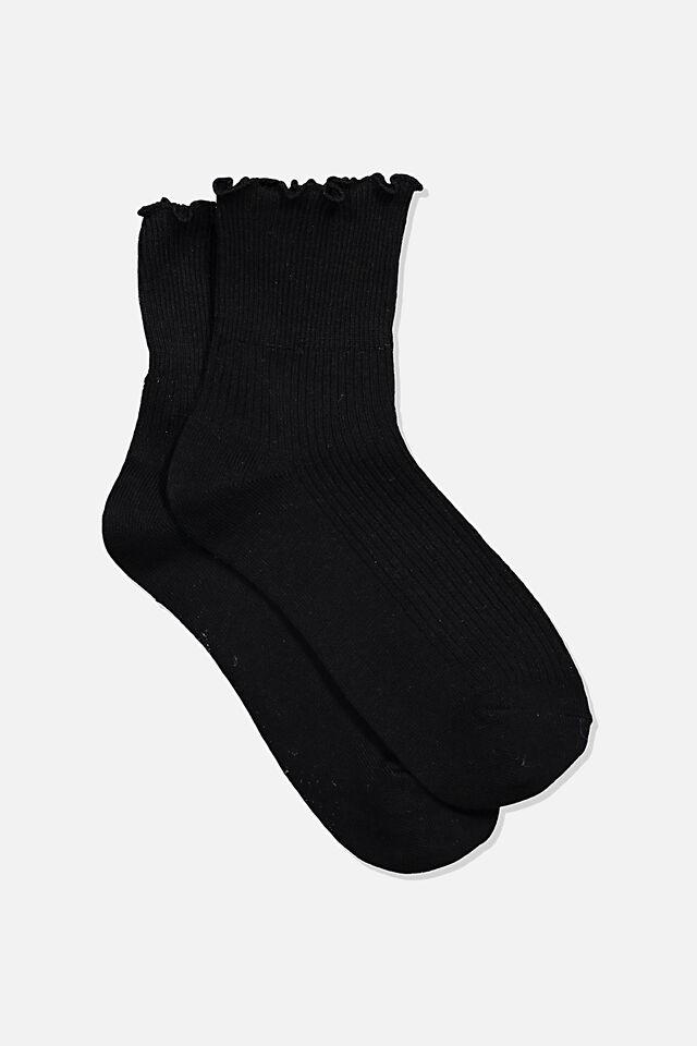 Frill Ribbed Quarter Crew Sock, BLACK