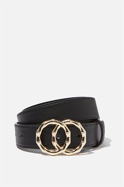 Double Circle Belt, BLACK GOLD BAMBOO BUCKLE