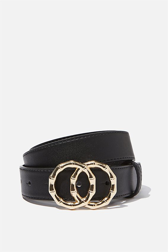 Double Circle Belt, BLACK/GOLD BAMBOO BUCKLE