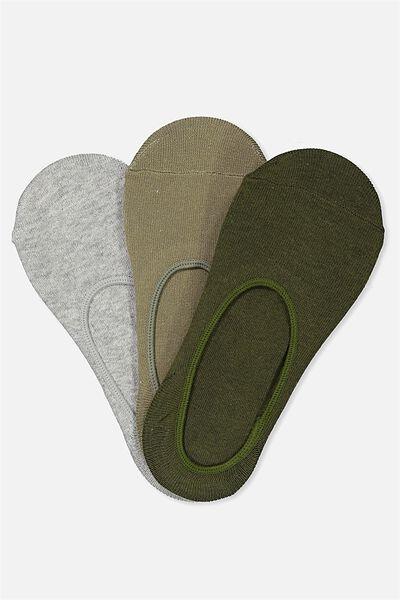 3Pk Low Cut Sock, KHAKI MULTI