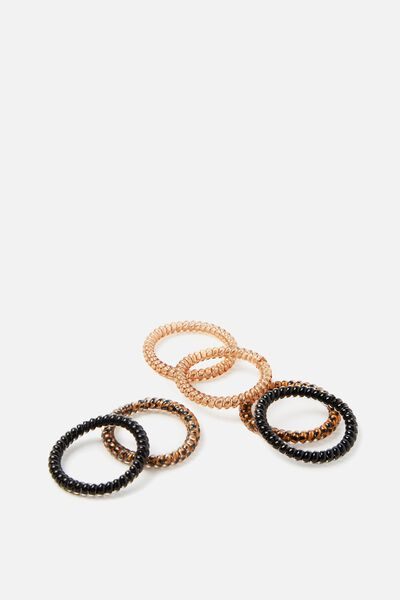 Body Home Spa   Small Hair Ties, BRUNETTE