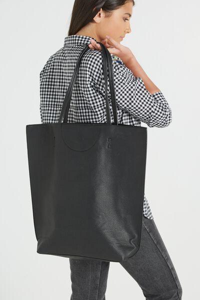 Textured Essential Tote, BLACK