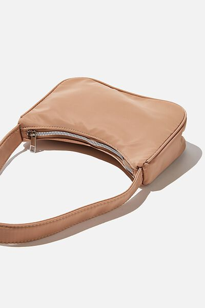 Nylon Underarm Bag, BROWN TAUPE