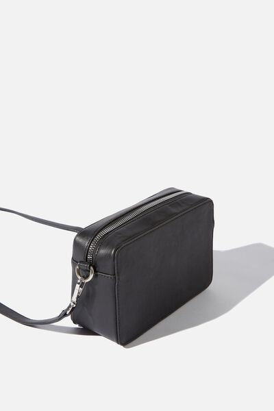 Stevie Boxy Cross Body Bag, BLACK