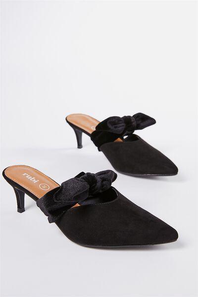 Monaco Bow Mule Heel, BLACK MICRO/VELVET