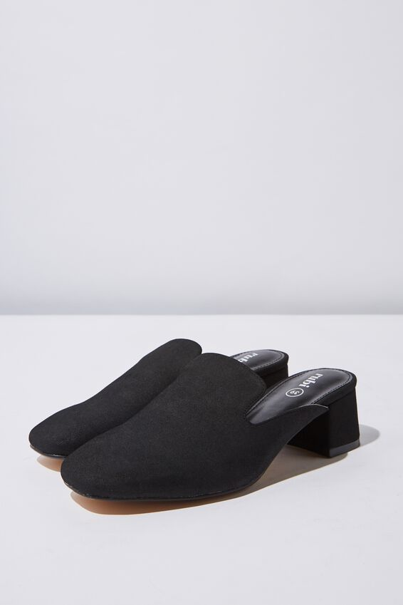 Jessica Loafer Mule Heel, BLACK NUBUCK PU