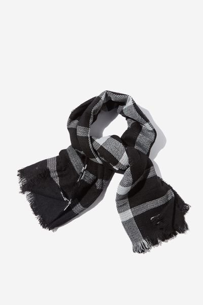 Danielle Double Layer Scarf, BLACK CHECK