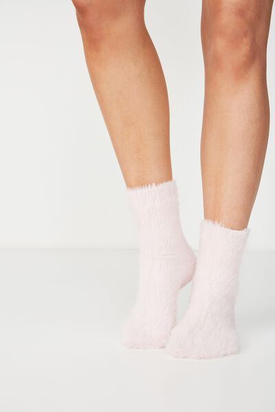 Fluffy Bed Sock, POWDER PINK
