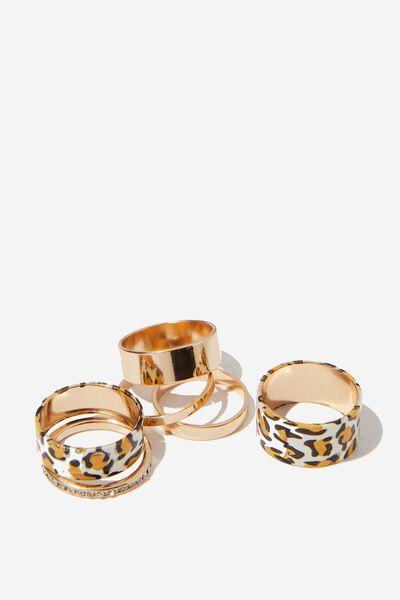 Sadie Animal Ring Set, GOLD/LEOPARD