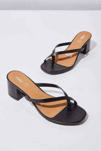 Briony Toe Post Heel, BLACK SMOOTH