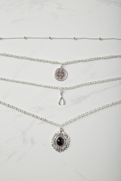 Wishbone Multi Layer Necklace, SILVER