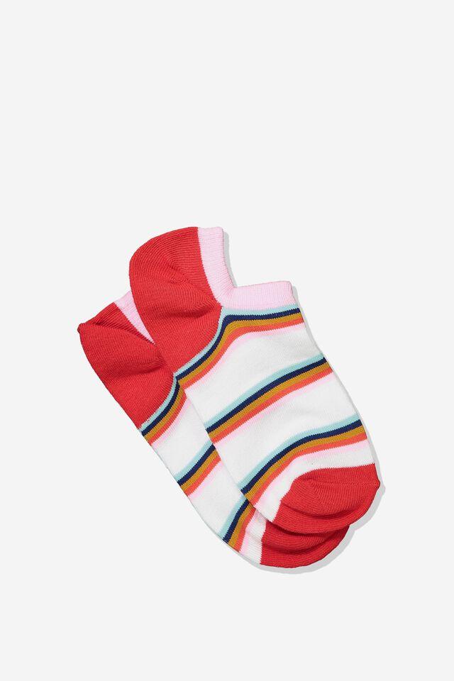 Sports Low Cut Sock, WHITE RED RAINBOW STRIPE