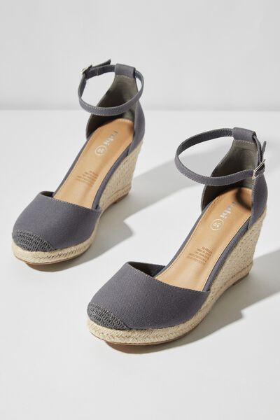 Florence Closed Toe Wedge, CHARCOAL CANVAS