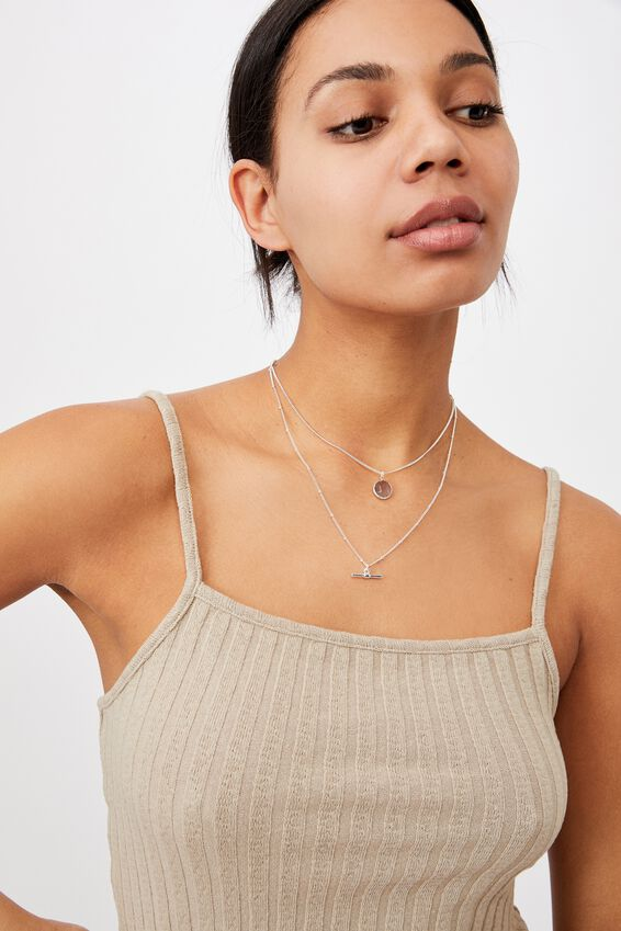 Luxe Layers Multi Necklace, SILVER SEMI PRECIOUS
