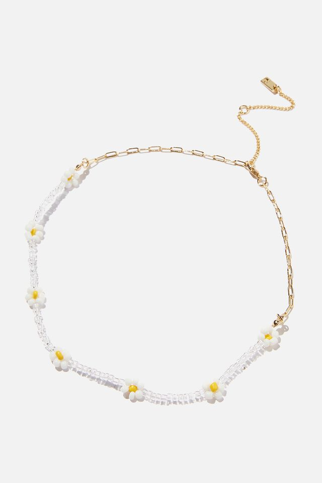 Premium Beaded Necklace, GOLD PLATED DAISY CHAIN
