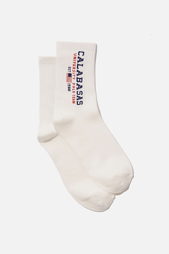 Fine Rib Sports Sock, CALABASAS UNIVERSITY