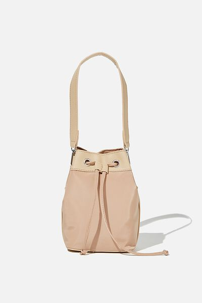 Nylon Bucket Bag, BROWN TAUPE
