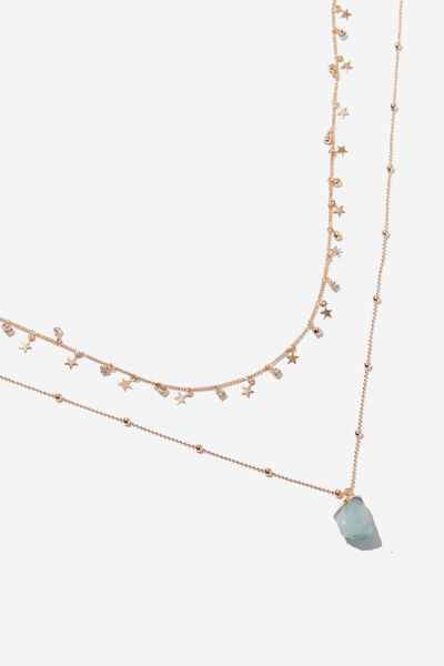Ethereal Mystic Necklace, GOLD/GREEN