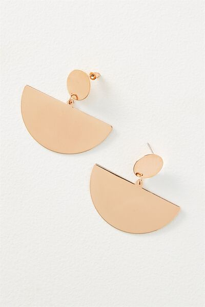 Queen Metal Statement Earring, ROSE GOLD