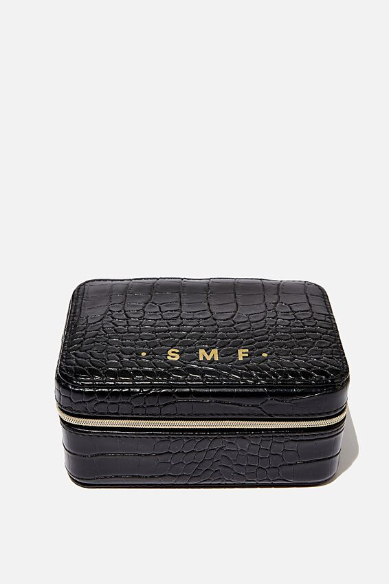 Personalised Medium Jewellery Box, BLACK CROC