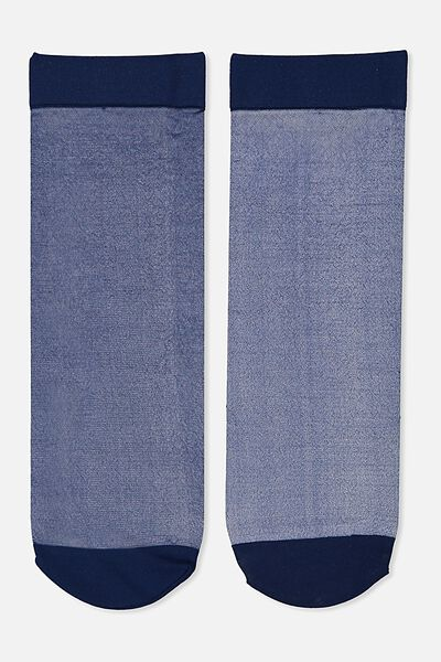 Poppy Sheer Sock, NAVY