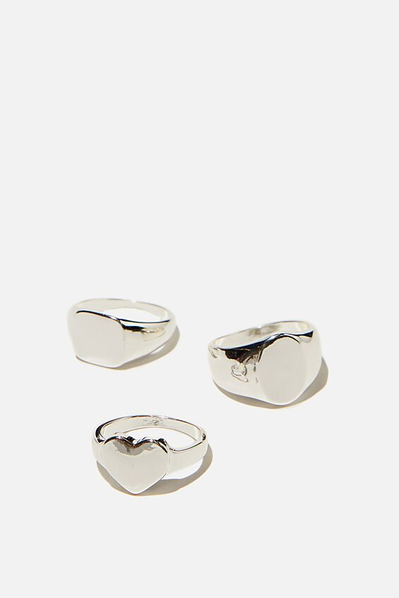 Brighter Days Ring Set, CLASSIC SIGNET SILVER