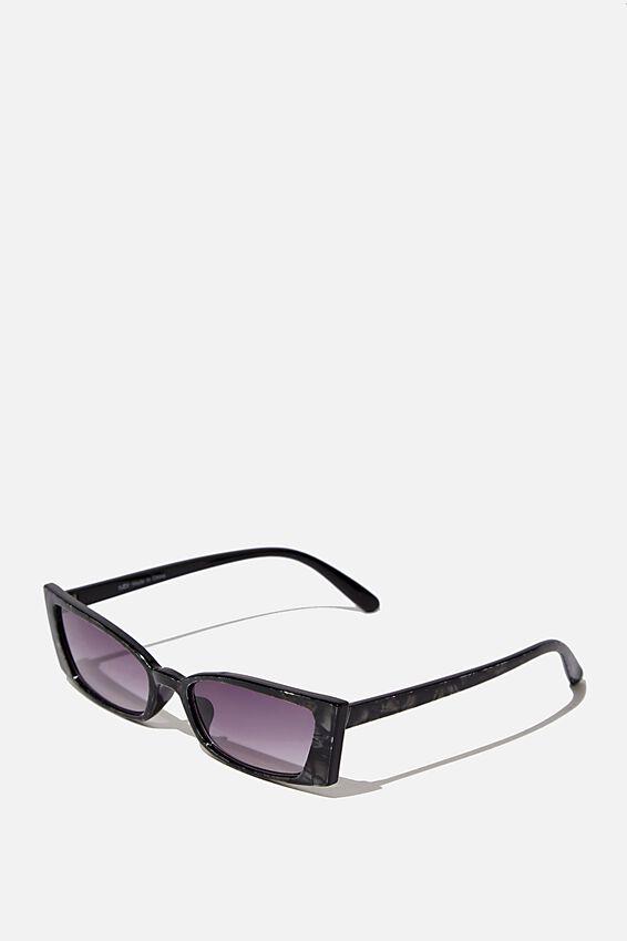 Tayla Square Frame Sunglass, CRYSTAL BLACK