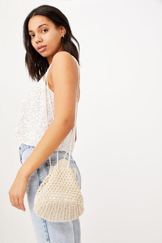 Macrame Knit Bucket Bag, NATURAL