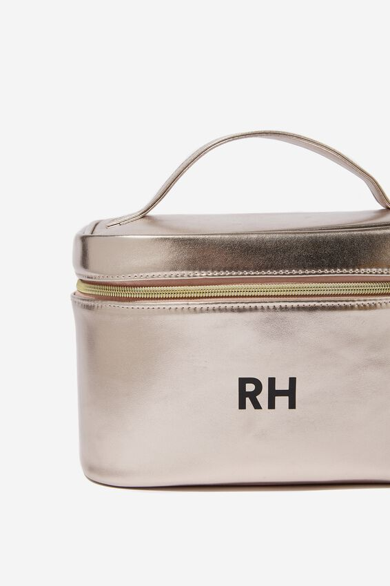 Personalized Large Structured Cosmetic Case, ROSE GOLD