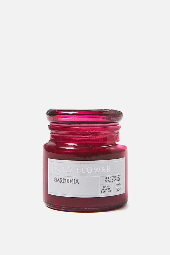 Small Glass Candle, WINE/GARDENIA