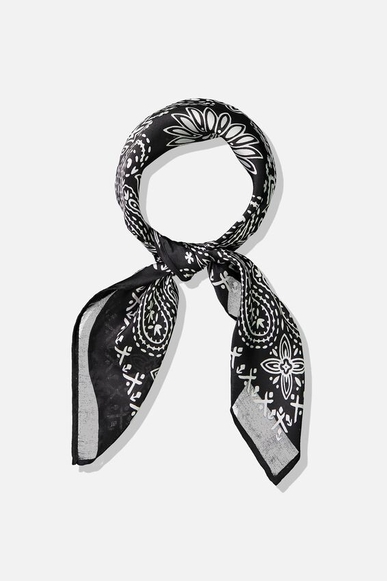 Soho Satin Scarf, BLACK TILE BANDANA
