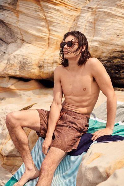 Bondi Rectangle Towel, KHAKI/AQUA BOLD STRIPE