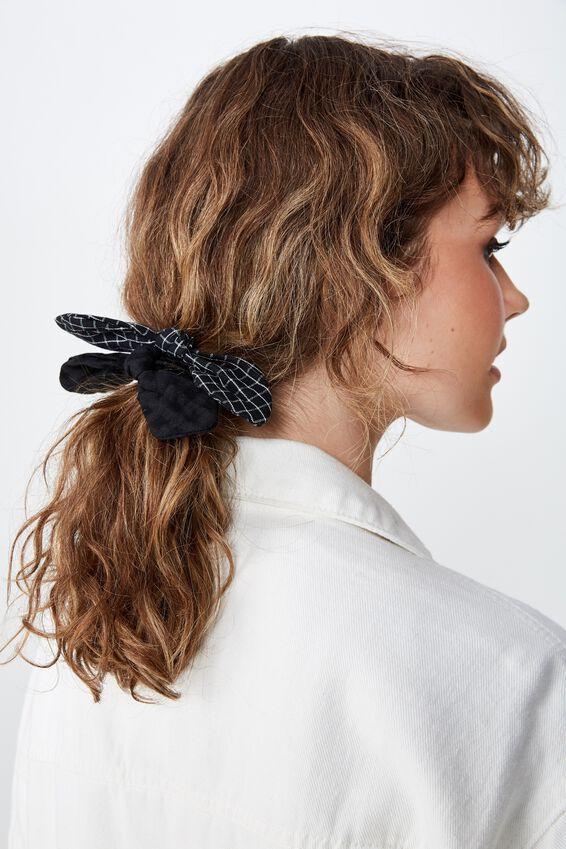 Beth Bow Hair Tie, BLACK MINI CHECK/BLACK