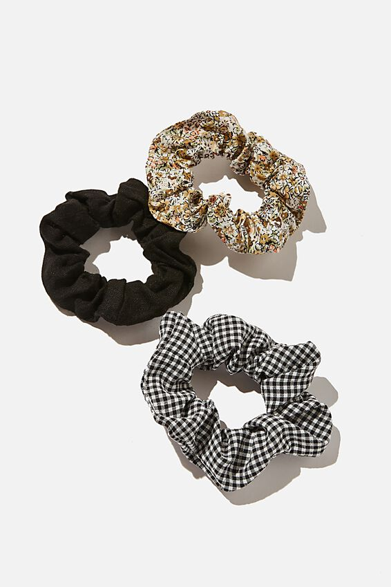 3Pk Scrunchies, BLACK GINGHAM FLORAL