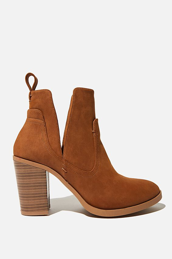 Nala Cut Out Boot, TAN NUBUCK PU