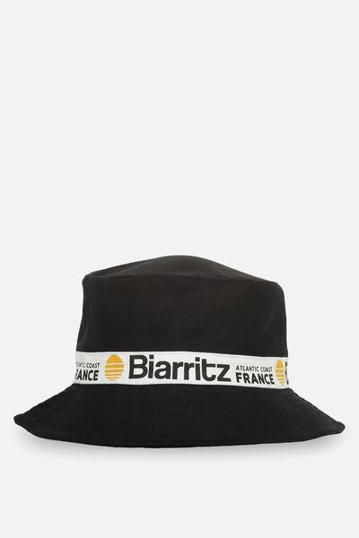 Bella Bucket Hat, BLACK/BIARRITZ TAPE