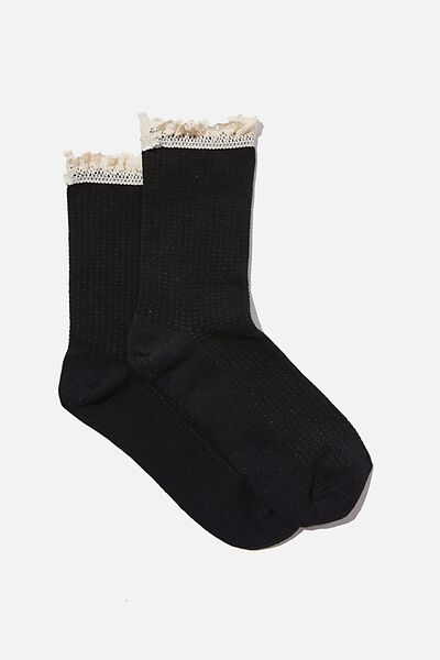 Lace Frill Crew Sock, BLACK