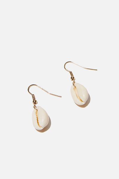 Single Cowrie Earring, NATURAL