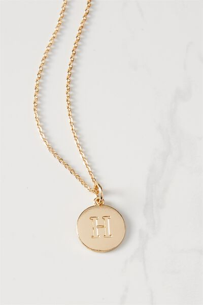 Letter Flat Pendant Necklace, GOLD - H