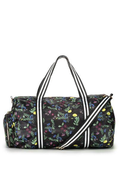 Istanbul Foldable Duffle Bag BOTANICAL BLACK