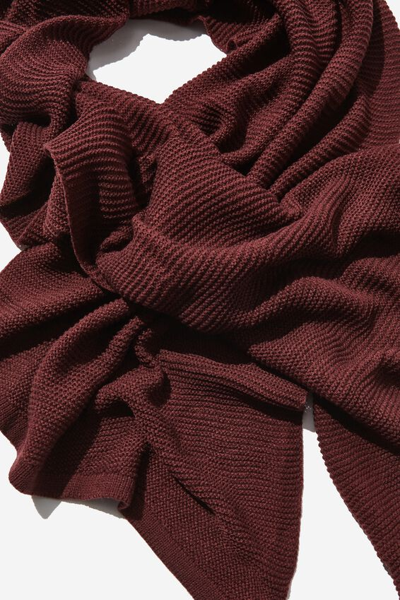 Rebecca Rib Knit Scarf, RED MAHOGANY