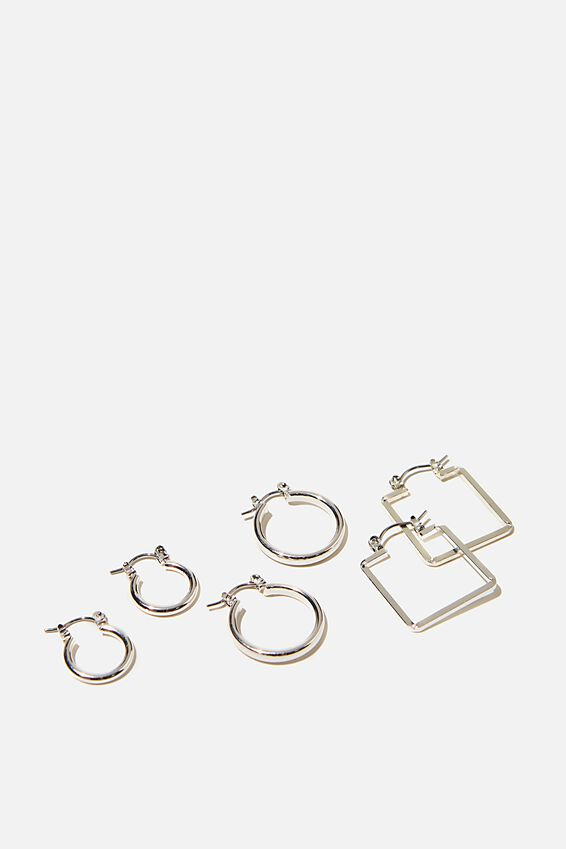 3Pk Luxe Layers Hoops, SILVER BASIC SHAPES
