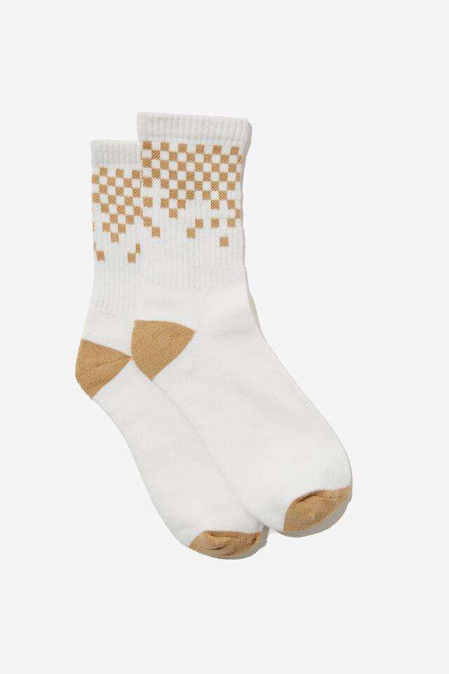 Club House Crew Sock, BARLEY/FADED CHECKBOARD