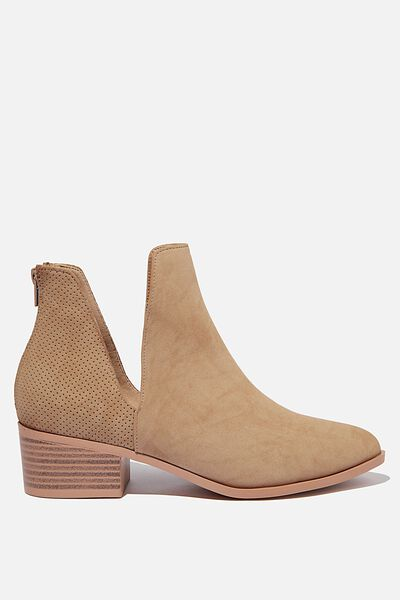 Eastwood Cut Out Boot, TAUPE PERF NUBUCK