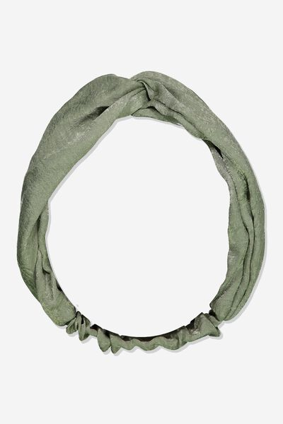 Manhattan Headband, SILVER SAGE SATIN