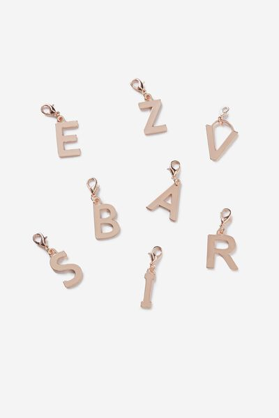 Luxe Letter Charm, ROSE GOLD