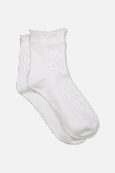 Fancy Quarter Crew Sock, WHITE POINTELLE