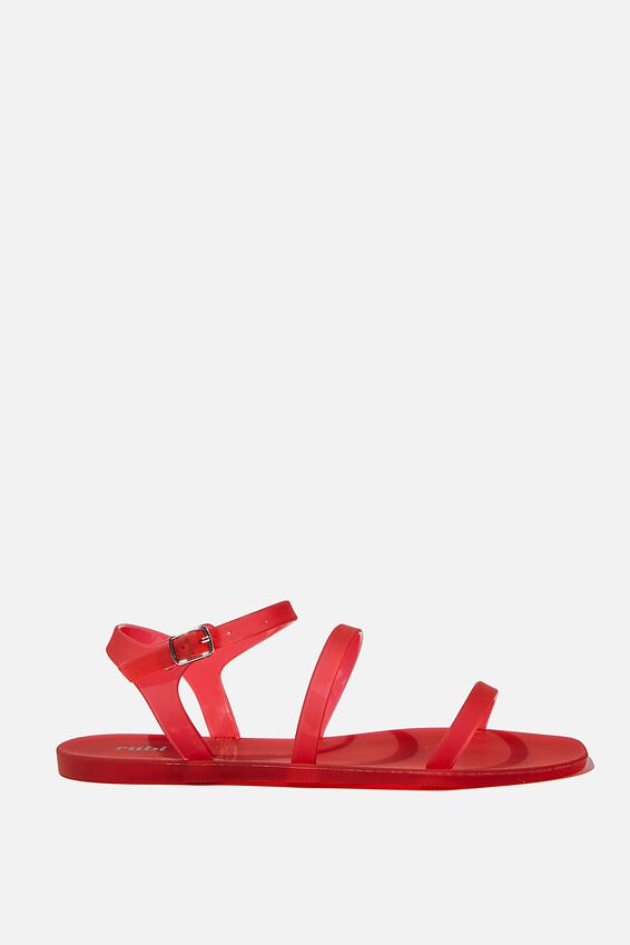 Triple Strap Jelly Sandal, LUCKY RED